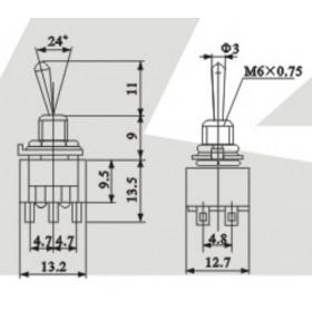 Chave Alavanca 2 Posições 2 Pólos 6 Terminais MTS202 6A