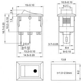 Mini Chave Gangorra Preta 2 Terminais KCD11-101