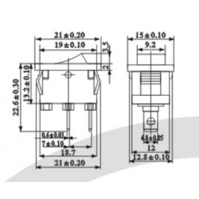 Chave Gangorra Preta 2 Terminais KCD1-001