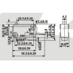 Chave Micro Switch NA 250V 16A KW11-7 (Fim de Curso)