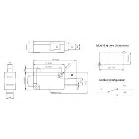 Chave Micro Switch 250V 16A com Alavanca de 14mm e Roda KW11-7 (Fim de Curso)