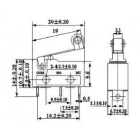 Chave Micro Switch 250V 5A com Alavanca de 17mm e Roda KW11-3Z-5A (Fim de Curso)