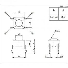 Chave Tactil 4 Terminais KFC-A06 6x6x17mm 180°