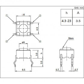 Chave Tactil 4 Terminais KFC-A06 6x6x19mm 180°