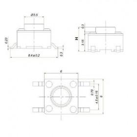 Chave Tactil SMD 4 Terminais KFC-A06A-H 6x6x4,3mm 180°