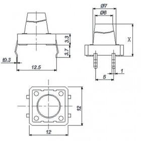 Chave Tactil Grande 4 Terminais KFC-012-H 12x12x8,5mm 180°
