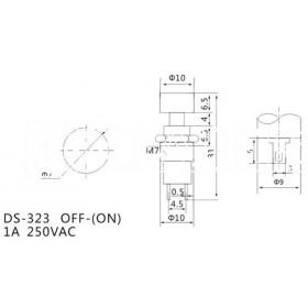 Chave Botão sem Trava Preta DS-323 2 Terminais NA