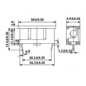 Porta Fusível 20AG 5x20mm 4A 250V Com Tampa para PCI AS-06