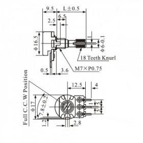 Potenciômetro Linear 10kΩ L16 com Chave Mini WH160-B