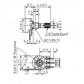 Potenciômetro Linear 500kΩ L16 com Chave Mini WH160-B
