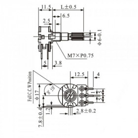 Potenciômetro Linear Duplo 100kΩ L20 Mini WH148-2