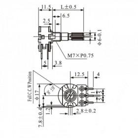 Potenciômetro Linear Duplo 500kΩ L20 Mini WH148-2
