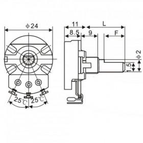 Potenciômetro Linear 250kΩ L40 WH0241