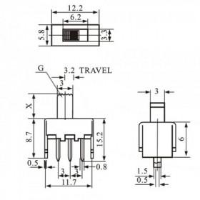 Chave HH 3 Terminais 2 Posições 180° 5,8x12,2mm SS12F46
