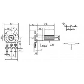 Potenciômetro Logarítmico 20kΩ L20 Mini WH148-1