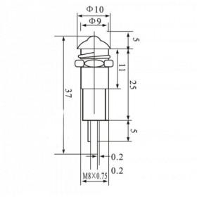 Sinalizador Olho de Boi Vermelho XD8-2 110V com Fio