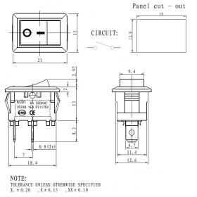Chave Gangorra Preta 2 Terminais KCD1-101