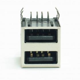 Conector USB Duplo Tipo A Fêmea 90° para Placa YH-USB02