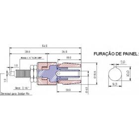 Borne Grande para Pino Banana 4mm B10 Vermelho 25A (Comprimento 54,5mm)