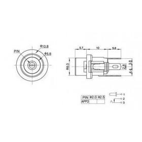 Jack J4 2.1mm com Rosca para Montagem em Painel (DC-025) (Metal)