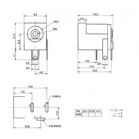 Jack J4 2,5mm para Placa (DC-005)