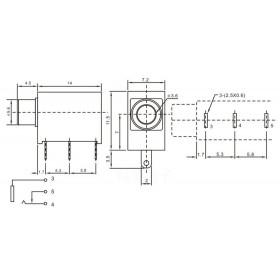 Jack J2 P2 Mono Vertical para Placa Circuito Fechado (PJ-323)