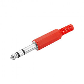Plug P10 Estéreo Vermelho Plástico
