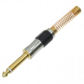Plug P10 Mono Dourado Banhado a Ouro Au Capa Preta Metálico
