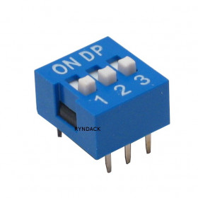 Chave Dipswitch 3 vias 180° Azul