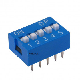 Chave Dipswitch 5 vias 180° Azul
