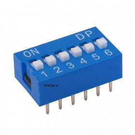 Chave Dipswitch 6 vias 180° Azul