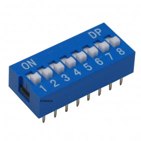 Chave Dipswitch 8 Vias 180° Azul