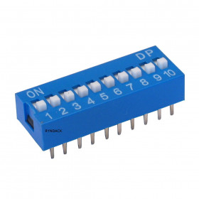 Chave Dipswitch 10 vias 180° Azul