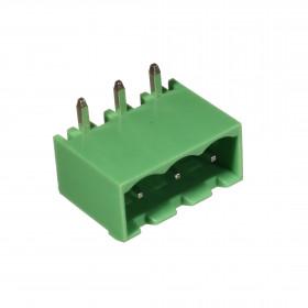 Conector Macho Verde 3 Vias KF2EDGRC-5.08 Passo 5,08mm 90° para Placa