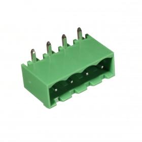 Conector Macho Verde 4 Vias KF2EDGRC-5.08 Passo 5,08mm 90° para Placa