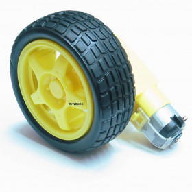 Roda de Borracha com Motor 6V e Caixa de Redução 48:1