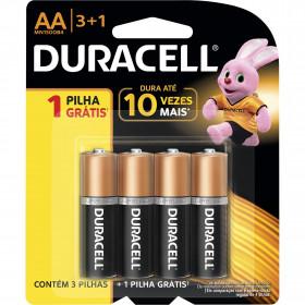 4 Peças - Pilha Alcalina AA 1,5V Duracell