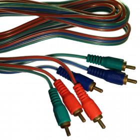 Cabo Video Componente 3x3 RCA Macho 1,8m (Vermelho, Azul e Verde)